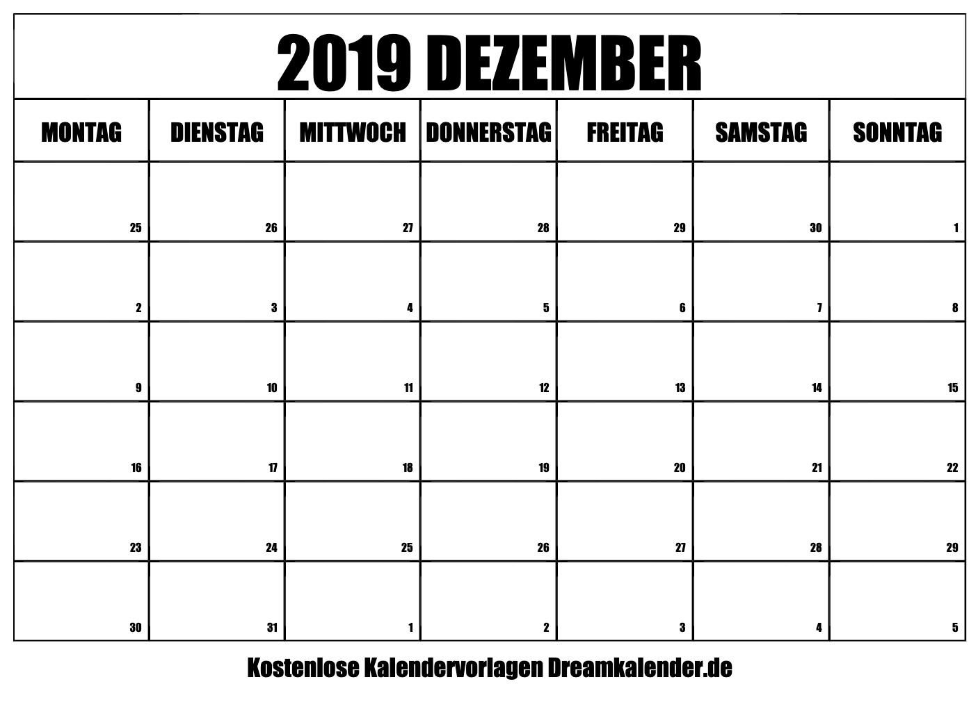 Dezember 2019 kalender
