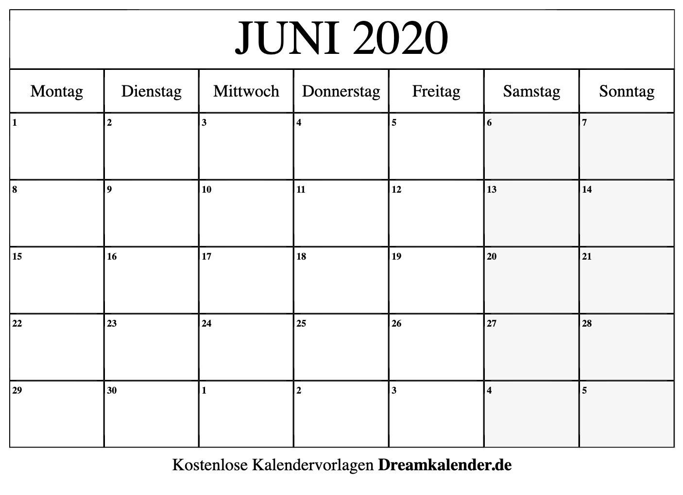 Kalender Juni 2020