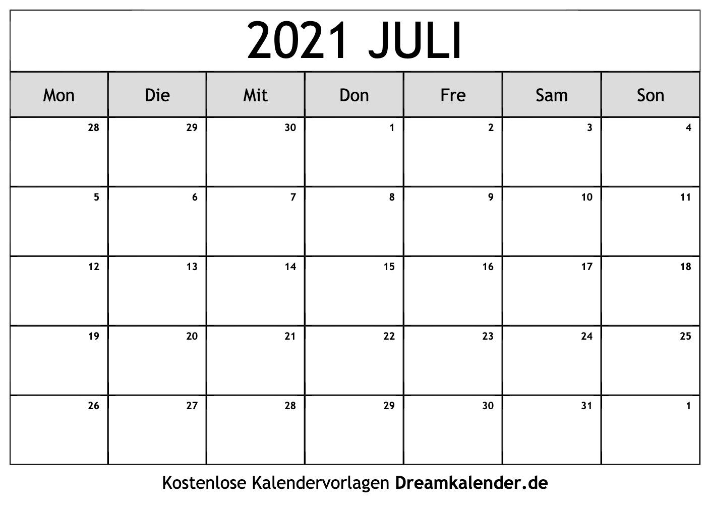 Kalender Juli 2021 Zum Ausdrucken