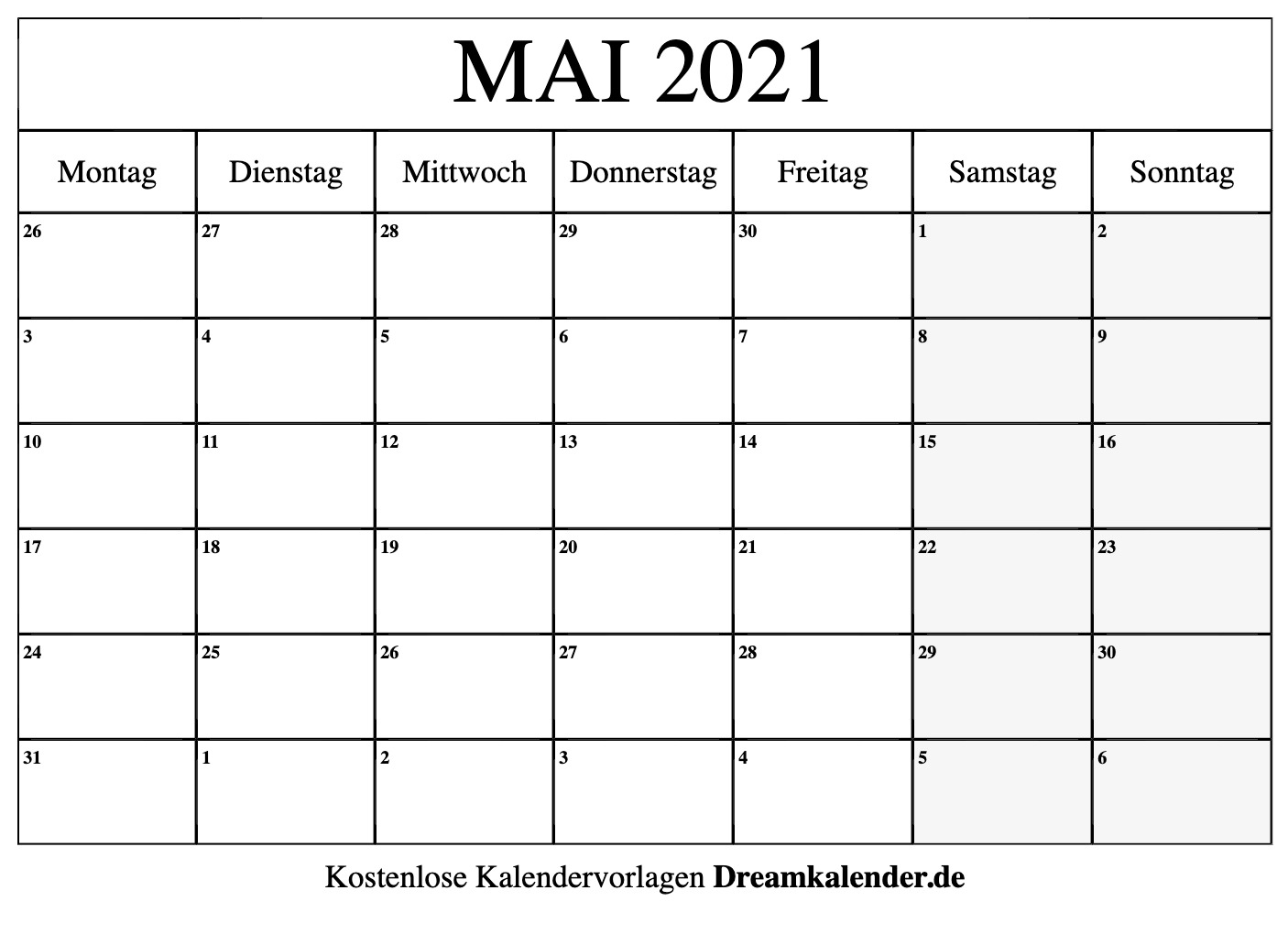 Kalender Mai 2021 Zum Ausdrucken