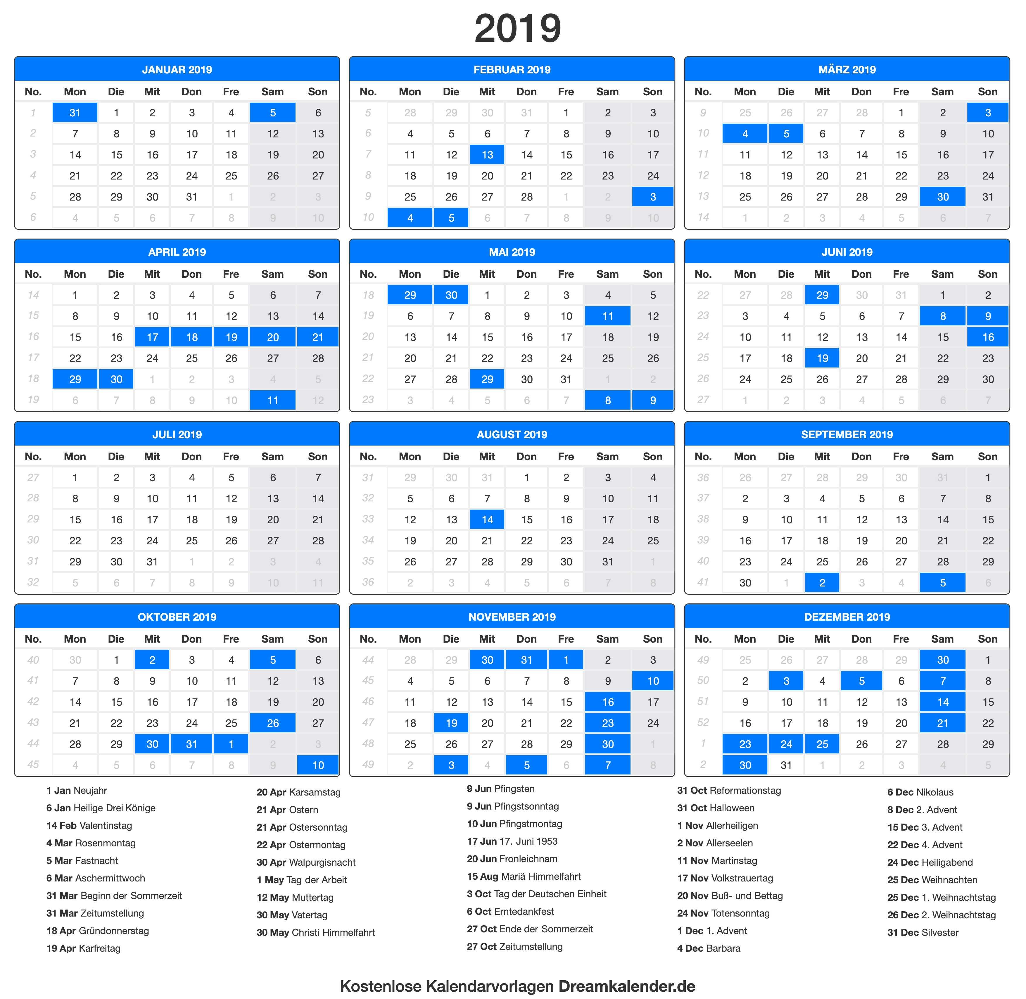 druckbare kalender 2019 dream kalender. Black Bedroom Furniture Sets. Home Design Ideas