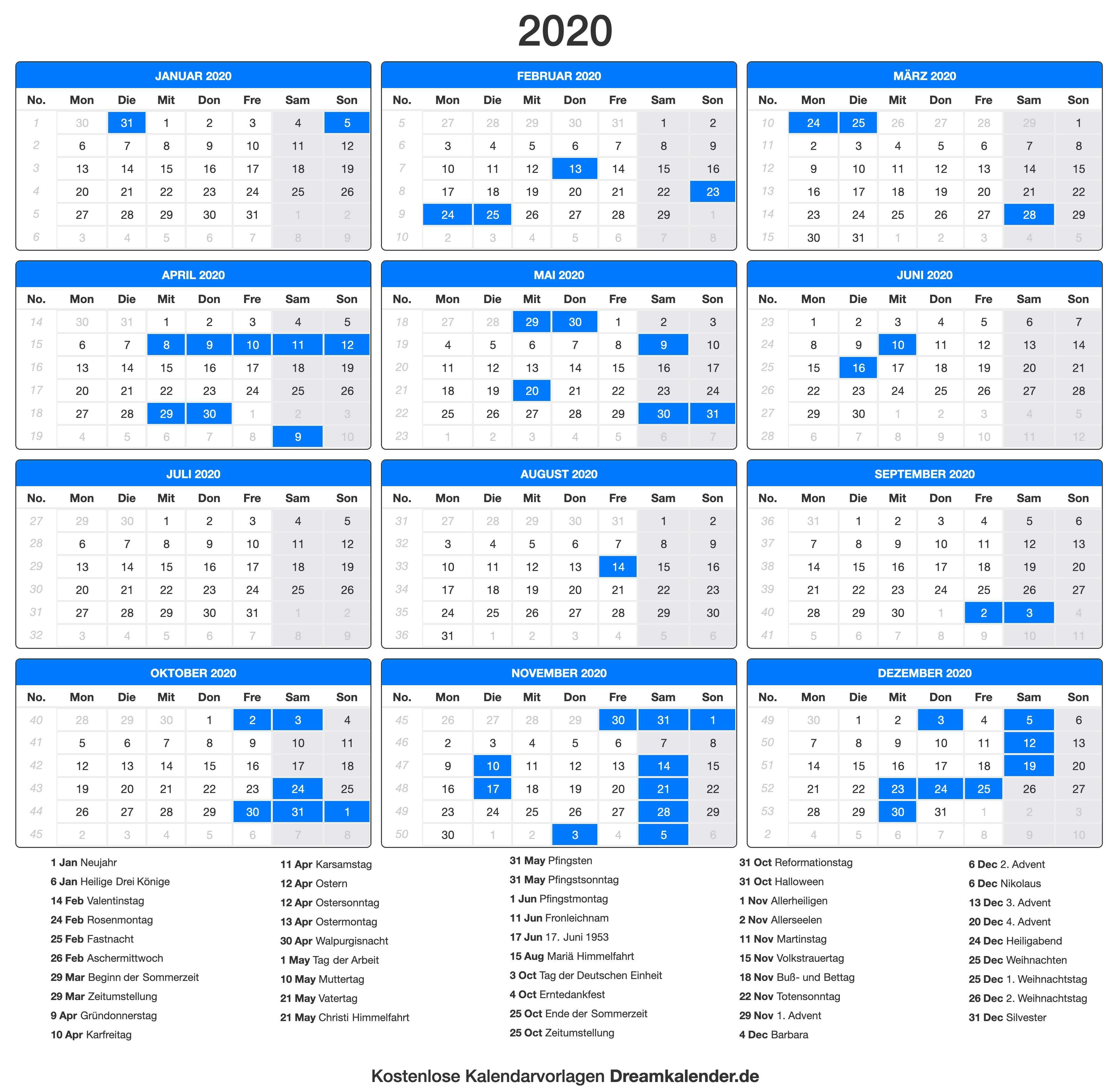 Kalenderübersicht 2020