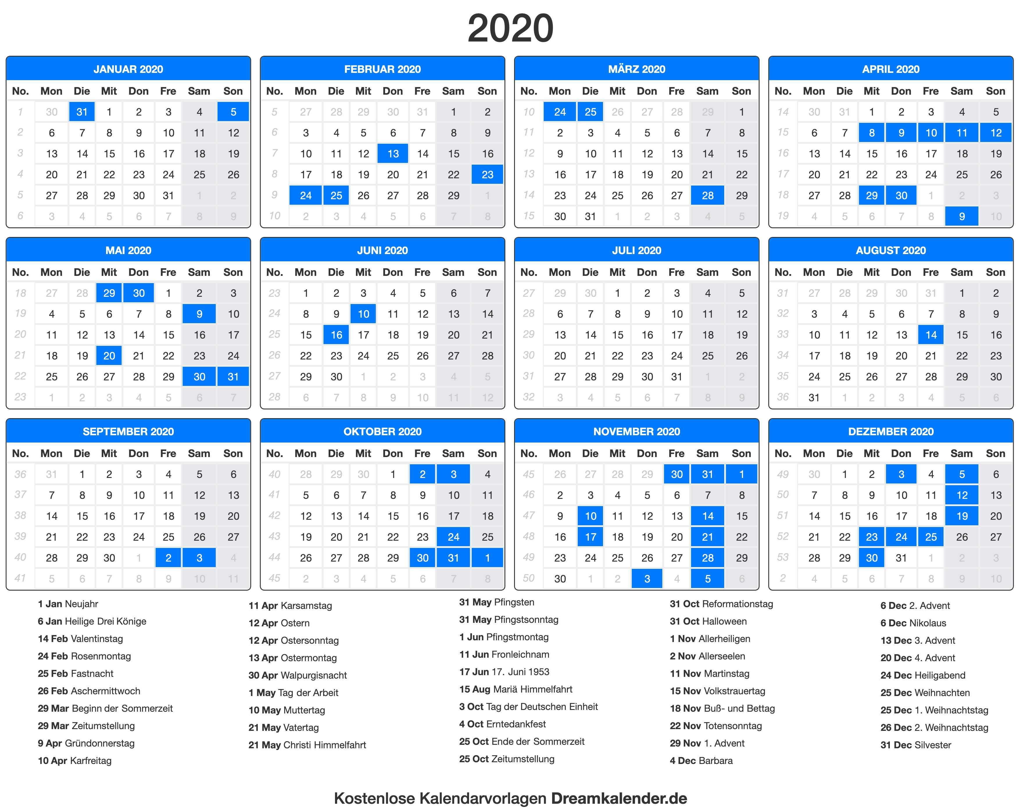 Druckbare Kalender 2020 Dream Kalender