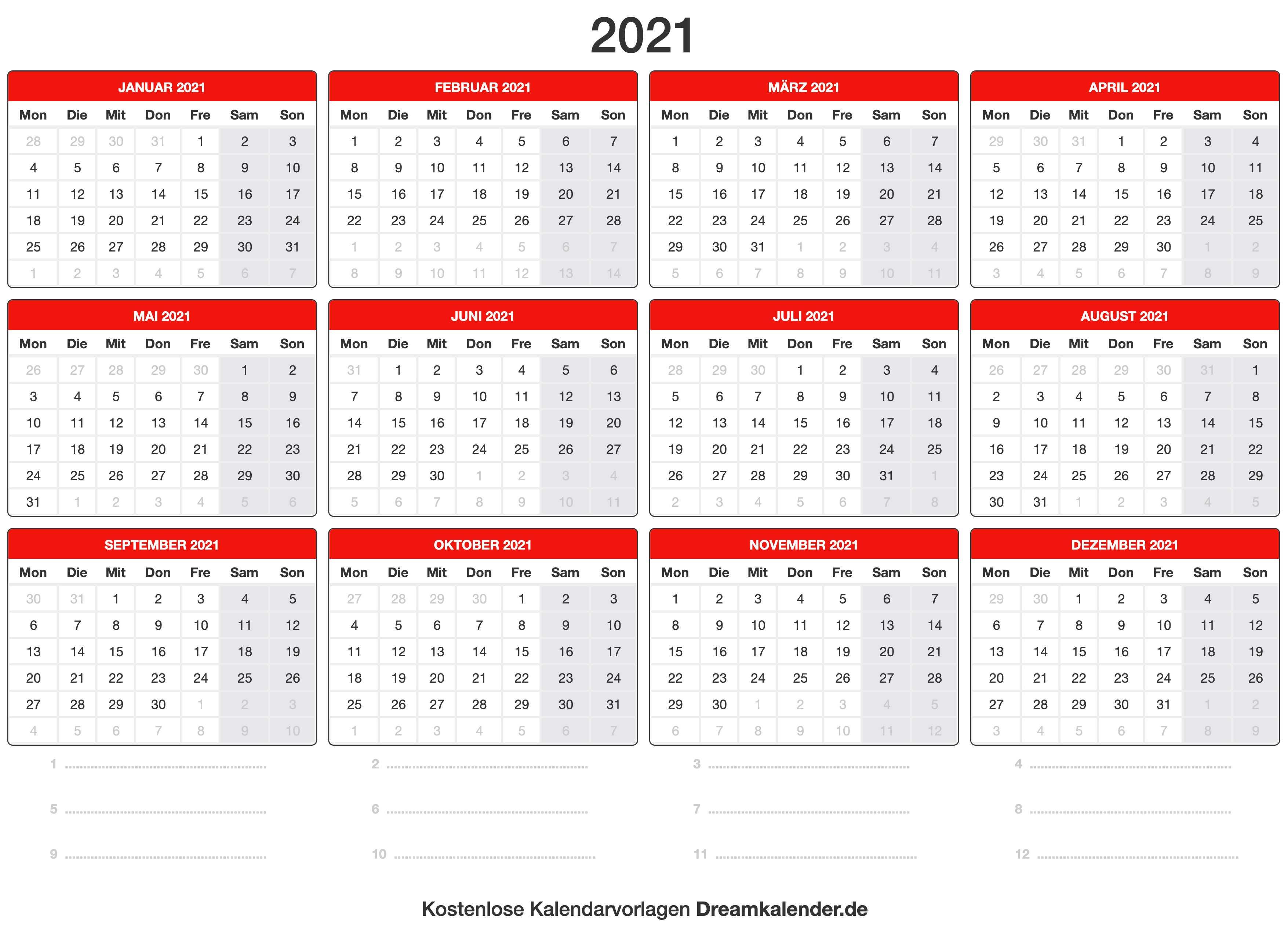 Kostenlose Kalender 2021 Kalender 2021 Zum