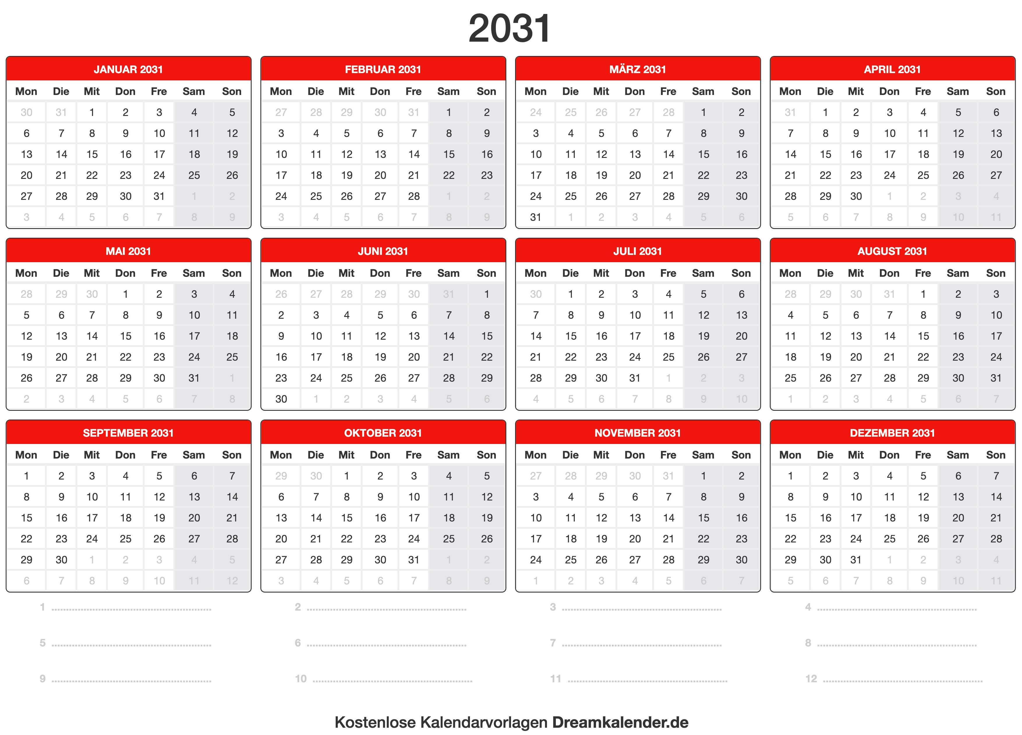 Kalenderblatt 2021 - Download Template Kalender 2021 Free